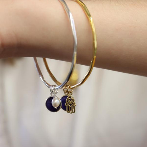 Lily Blanche Edit - Sapphire Charm Bangle | Silver Pearl