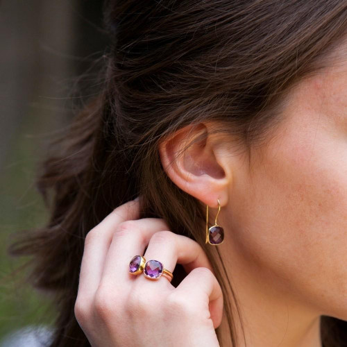 Purple Amethyst Cocktail Ring | Rose Gold