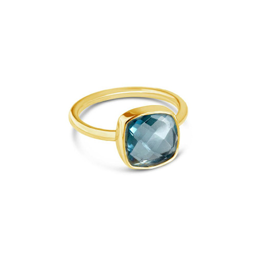 Lily Blanche Blue Topaz cocktail ring in a gold setting