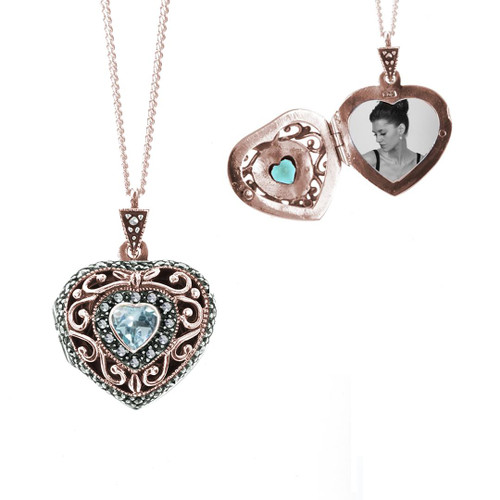 rose gold vintage style heart shaped locket with blue topaz gem and 1 photo of woman