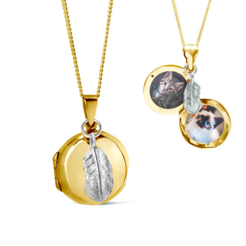 LILY BLANCHE Gold Feather Picture Locket open and closed