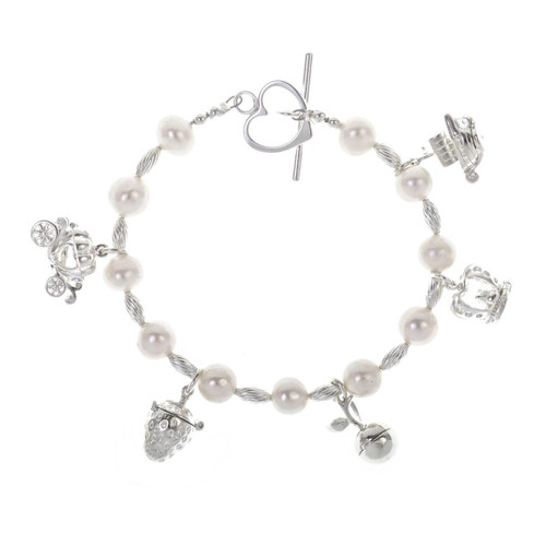 Charm Bracelet Pearl & Sterling Silver in Champagne Pink with five Magical Charms