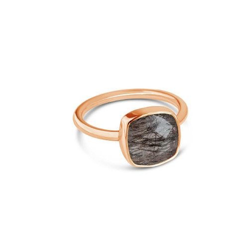 Lily Blanche Luminous Cocktail Ring rutilated quartz/ rose gold