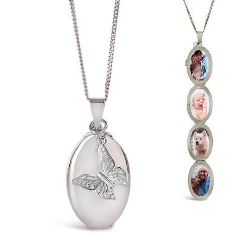 Four Photo Oval Butterfly Locket | Silver