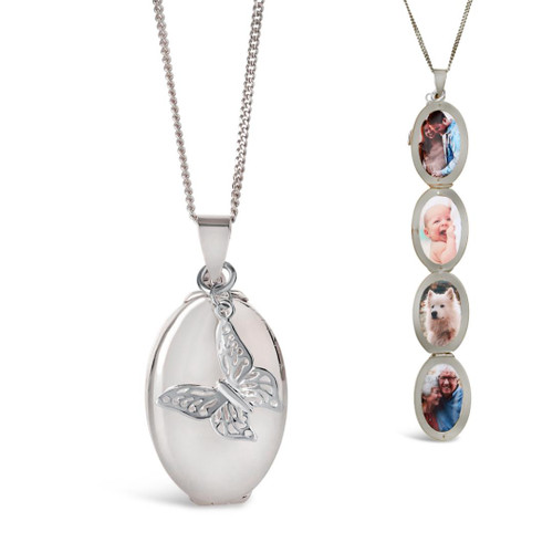 Lily Blanche Oval Butterfly Locket White Gold open and closed