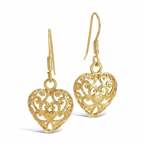 Lily Blanche Gold Filigree Heart Earrings