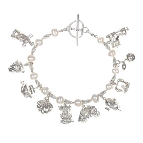 LILY BLANCHE Charm Bracelet Pearl & Sterling Silver in Ivory with ten magical charms