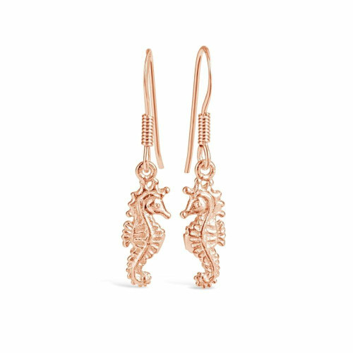 Lily Blanche Rose Gold Seahorse earrings