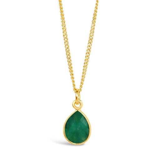 Emerald Charm Necklace   Gold / May