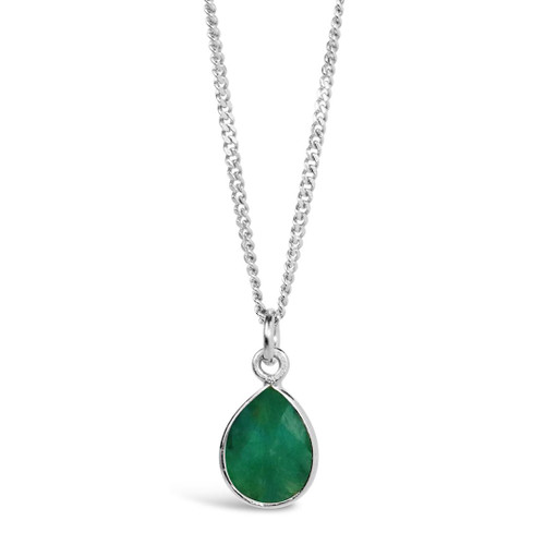 Emerald Charm Necklace | Silver / May