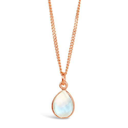 Moonstone Charm Necklace | Rose Gold / June