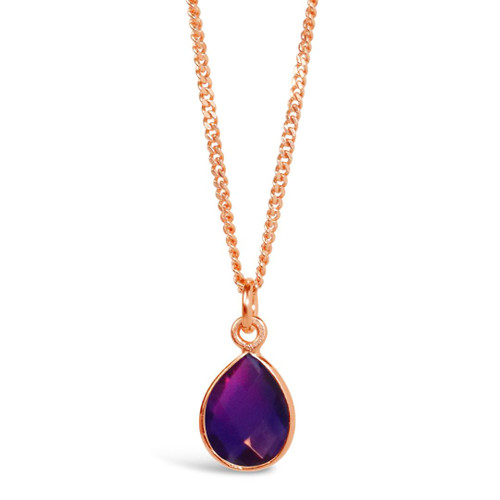 Amethyst Charm Necklace | Rose Gold / February