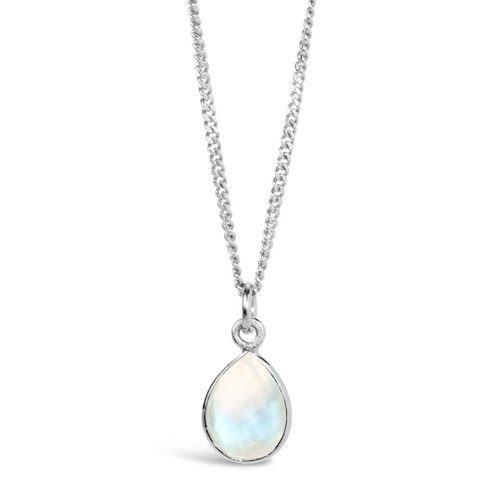 Moonstone Charm Necklace   Silver / June