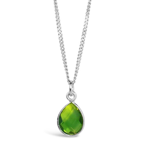 Peridot Charm Necklace | Silver / August