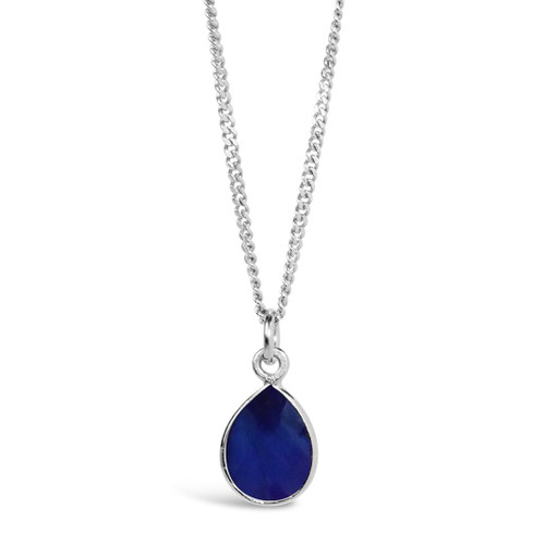 Sapphire Charm Necklace | Silver / September
