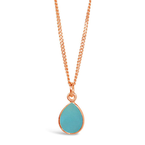 Aqua Chalcedony Charm Necklace | Rose Gold / March