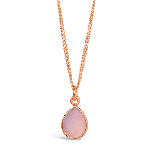 Pink Opal Charm Necklace   Rose Gold / October