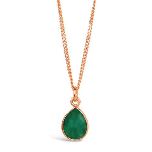 Emerald Charm Necklace   Rose Gold / May