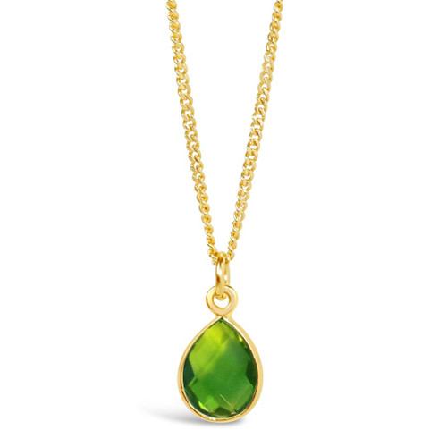 Peridot Charm Necklace   Gold/ August