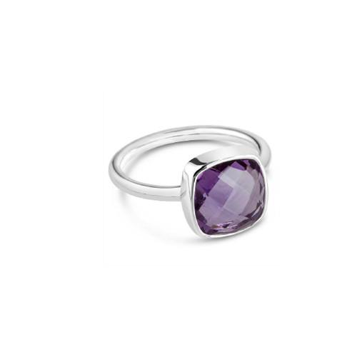 Purple Amethyst Cocktail Ring | Silver