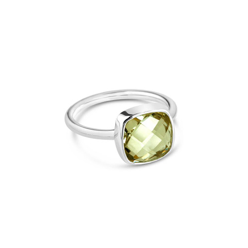 Green Amethyst Cocktail Ring | Silver