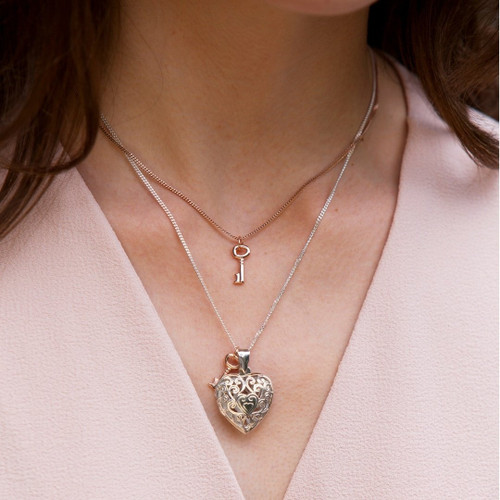Key Locket | Silver / Rose Gold