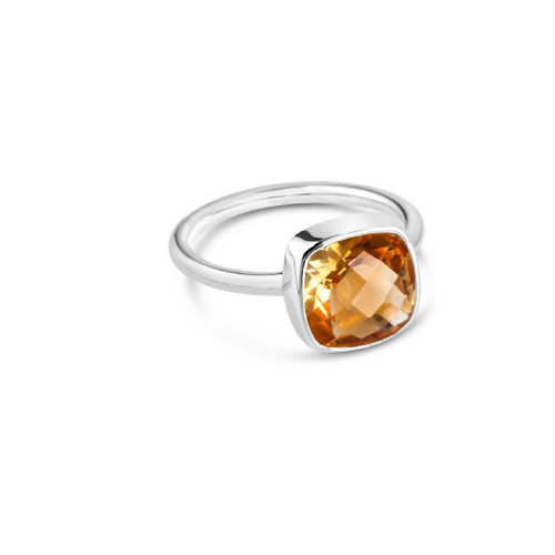 Citrine Cocktail Ring   Silver