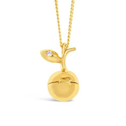 gold apple magical charm necklace