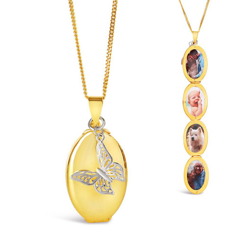 Four Photo Oval Butterfly Locket | Gold