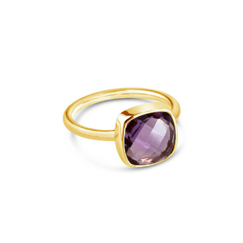 Purple Amethyst Cocktail Ring | Gold