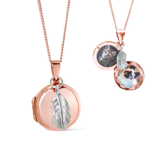 Feather Locket | Rose Gold
