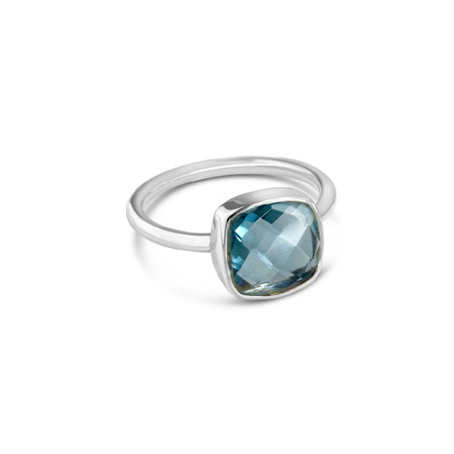 Blue Topaz Cocktail Ring | Silver