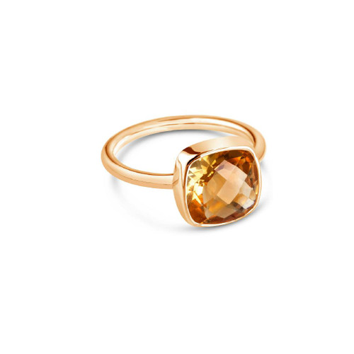 Lily Blanche citrine cocktail ring in rose gold.