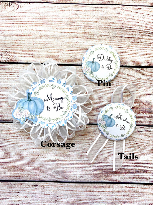 Blue pumpkin baby shower corsages and pins