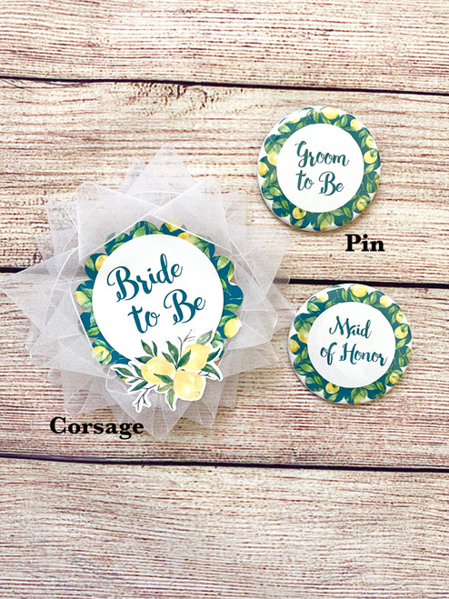 Lemon theme shower corsages and pins