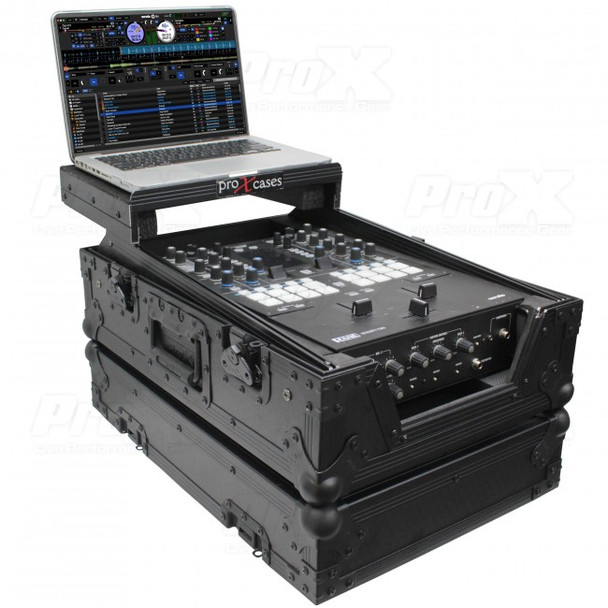 "ProX 11"" DJ Mixer Road Case W/Laptop Shelf for Rane Seventy-Two 72 (Black on Black)"
