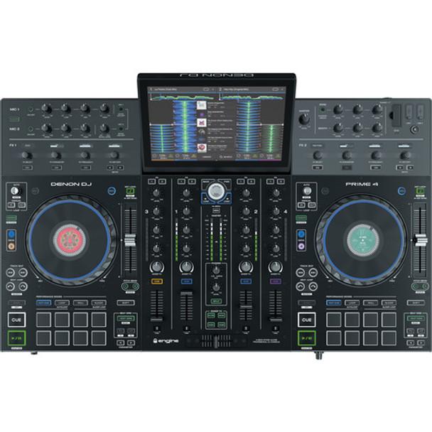 Denon DJ Prime 4 Standalone 4-Deck DJ System with 10 Inch Touchscreen