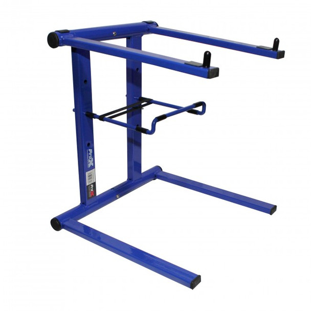 ProX Foldable Portable DJ Laptop Stand W/Adjustable Shelf Blue