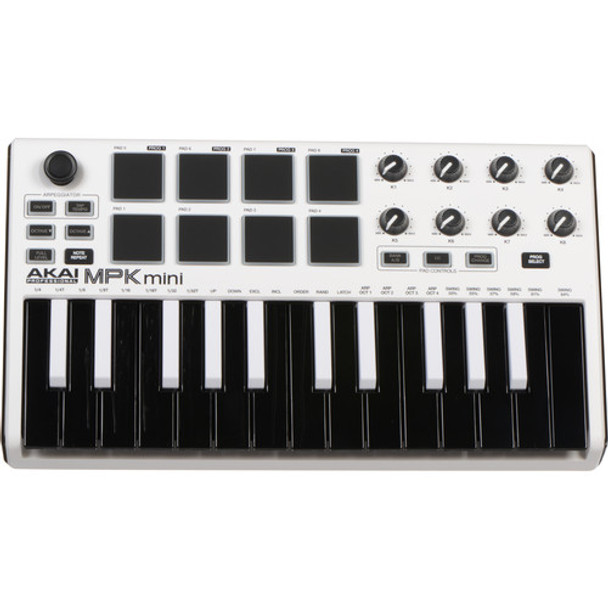 Akai MPK Mini mkII 25-key Keyboard Controller - Limited Edition White with Reverse Keys (MPKMINI2WHITE)