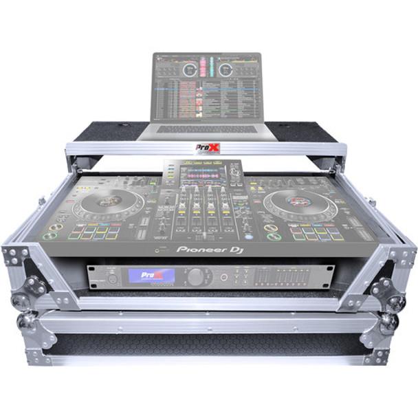 ProX XS-XDJXZ WLT Flight Case with Shelf and Wheels for Pioneer XDJ-XZ System (Silver-on-Black)