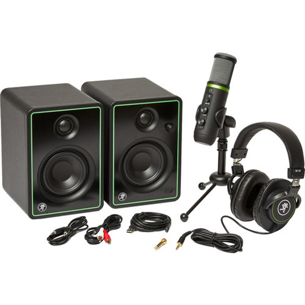 "Mackie Creator Bundle 3"" Multimedia Monitors, USB Microphone, and Headphones"