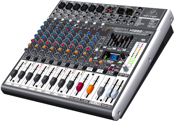 Behringer X1222USB 16-Input 2/2-Bus Mixer with XENYX Mic, FBQ and Compressors