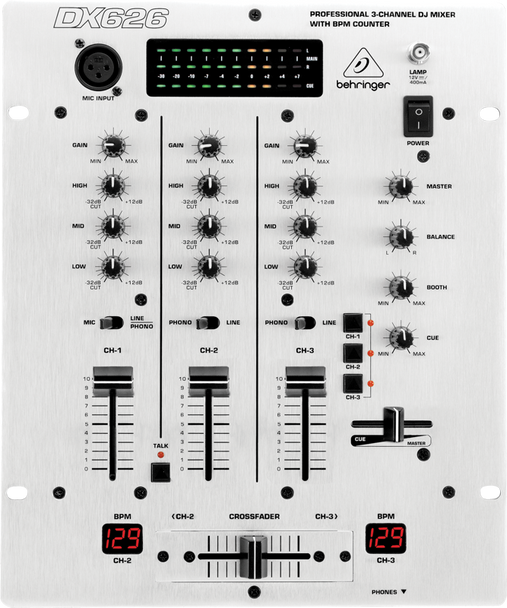 Behringer DX626 Professional 3-Channel DJ Mixer with BPM Counter