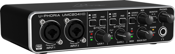 Behringer UMC204HD Audiophile 2x4, 24-Bit/192 kHz Audio/MIDI Interface