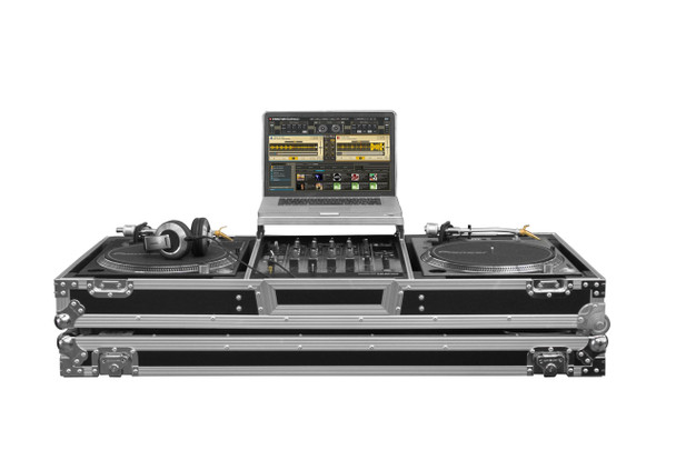 "Low Profile Glide Style DJ Coffin W/Whls for A 12"" Mixer & Two Turntables in Battle Position"