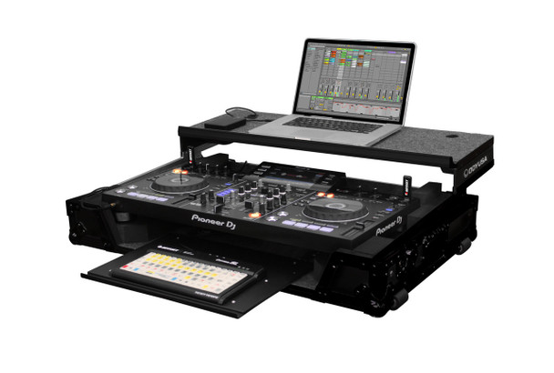 DJ Controller Glide Style Case w/Wheels & Bottom GT Glide Tray Shelf for Pioneer XDJ-RX - Black