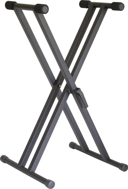 "Audio2000's AST4365 Easy-Lock Quick Height Adjustment Heavy-Duty Dual-Brace Single Tier ""X"" Keyboard Stand"