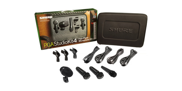 Shure 4-piece studio kid including 1-PGA52, 1-PGA57, 2-PGA181, 1-A25D stand adapter, 2-WA371 stand adapters, 4-XLR-XLR cables, case