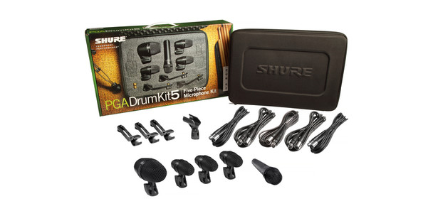 Shure 5-piece drum mic kit including 1-PGA52, 3-PGA56, 1-PGA57, 1-A25D stand adapter, 3-AP56DM drum mounts, 5 XLR-XLR cables, case