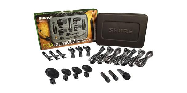 Shure 7-piece drum mic kit including 1-PGA52, 3-PGA56, 1-PGA57, 2-PGA81, 3-A25D stand adapters, 3-AP56DM drum mounts, 7 XLR-XLR cables, case